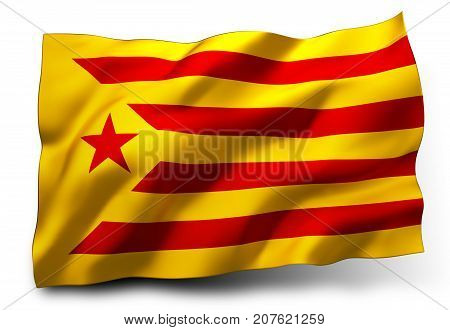Estelada flag of Catalonia waving in the wind isolated on white background - 3D illustration