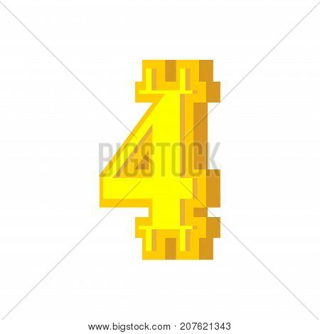4 Numeral Bitcoin Font. Four Numeric Crypto Currency Alphabet. Lettering Virtual Money. Vector Illus