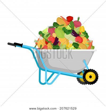 Wheelbarrow And Vegetables. Big Harvest In Garden Trolley. Vector Illustration