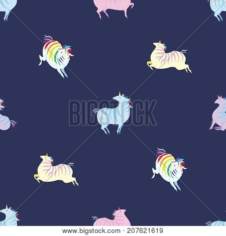 Seamless pattern with amusing unicorns. Vector. Illustration for children's wall-paper or packing paper.