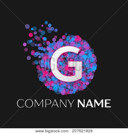 Realistic Letter G logo with blue, purple, pink particles and bubble dots in circle on black background. Vector template for your design