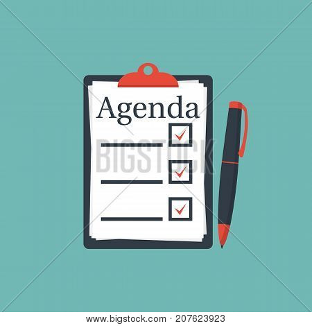 Clipboard agenda. Vector illustration flat design. Isolated on background. White sheets with marks.