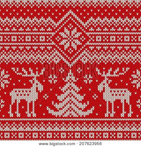 Winter Holiday Seamless Knitted Pattern with a Christmas Trees and Elks. Knitting Sweater Design. Wool Knitted Texture