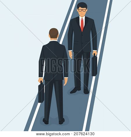 Two businessmen meeting on narrow road. Business people in suits with briefcase stand facing each other. Vector illustration flat design. Isolated on white background. Obstacle is on the way.