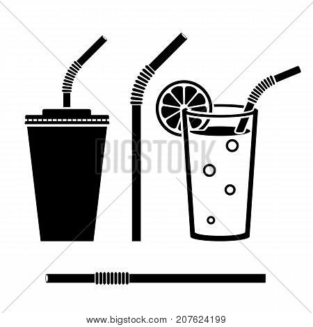 Orange juice in glass. Isolated black icon silhouette. Straw beverage. Plastic pipe pictogram. Tube drinking sign. Paper cup soda. Vector illustration flat design. Isolated on white. Fast food drink.