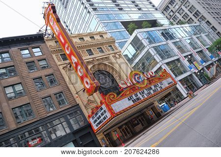 The Famous Chicago Theater On State Street.