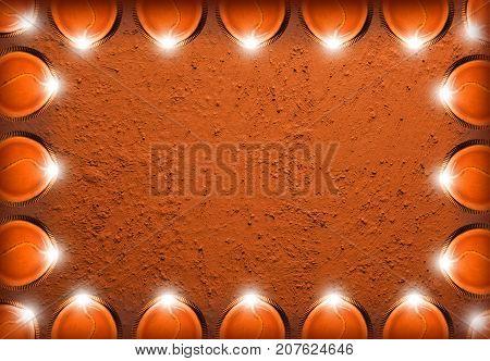 Stock photo of diwali greeting card showing illuminated diya or oil lamp or panti with copyspace
