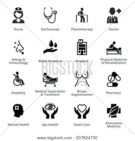 16 medical specialties icons, perfect for presentations, web design, mobile apps or any of your design projects.
