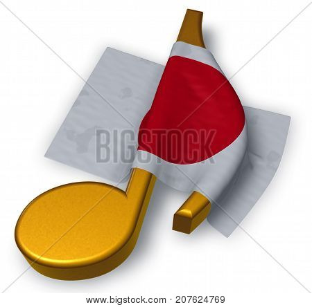 music note symbol symbol and flag of japan - 3d rendering