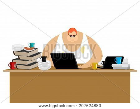 Freelancer At Work. Clutter And Computer. Remote Job. Working Home. Vector Illustration