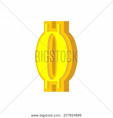 0 Numeral Bitcoin Font. Zero Numeric Crypto Currency Alphabet. Lettering Virtual Money. Vector Illus