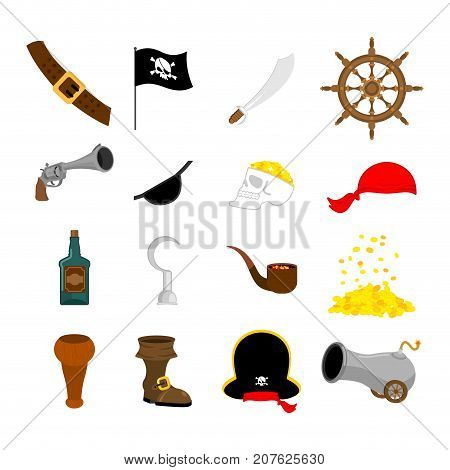 Pirate Set Icon. Flag And Saber. Piratical Hat And Wooden Leg. Eye Patch And Rum. Pistol And Helm. S