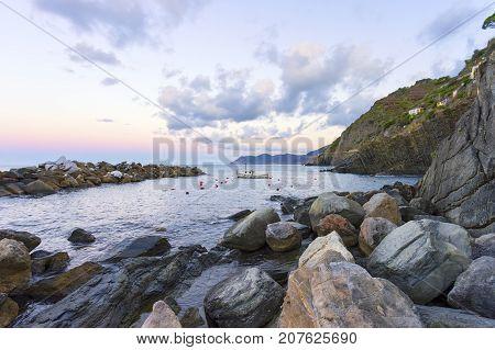 Morning light at Riomagiore in Cinque Terre in Italy