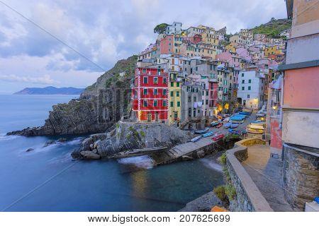 Riomagiore in the morning in Cinque Terre in Italy