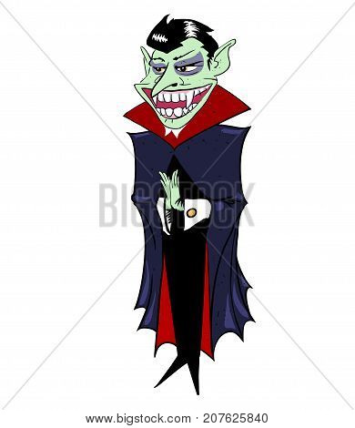 Grinning vampire hand drawn image. Original colorful artwork, comic childish style drawing.