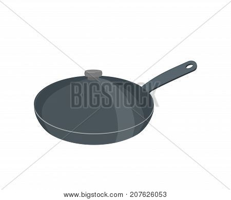 Frying Pan With Lid. Pan Is Closed With Cover. Tableware Vector Illustration