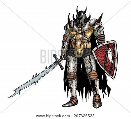 Warrior with sword hand drawn image. Original colorful artwork, comic childish style drawing.