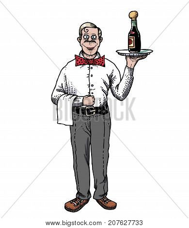 Waiter hand drawn image. Original colorful artwork, comic childish style drawing.