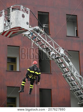 Firefighter During A Training Exercise With The Autoscale And Th