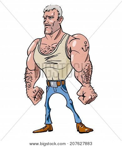 Tough man freehand picture. Artistic drawing. Authentic cartoon.