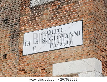 Venice Text With The Name Of The Square. The Word Campo In Itali