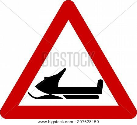 Warning sign with snowmobile symbol on white background
