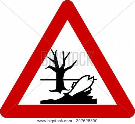 Warning sign with harmful chemicals symbol on white background
