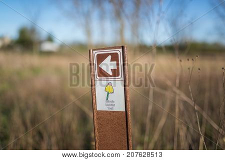 Chicago,Il,USA,April 22 2017:Illinois Habitat Trail Signpost in Forest Preserve,for editorial use only