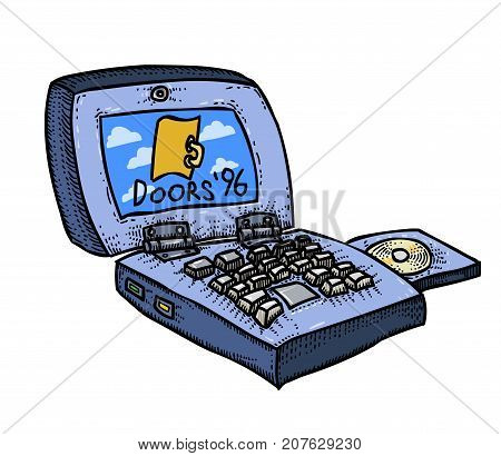 Laptop computer freehand picture. Artistic drawing. Authentic cartoon.