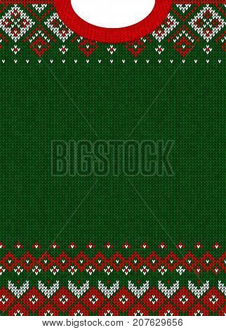 Ugly sweater Merry Christmas and Happy New Year greeting card template. Vector illustration Handmade knitted background pattern with scandinavian ornaments. White, red, green colors. Flat style
