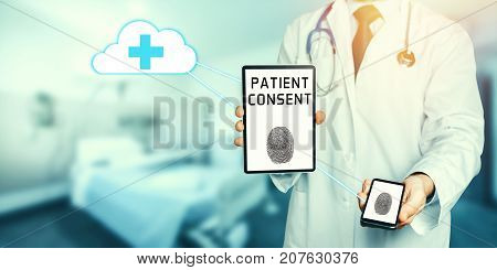 Man Doctor Holds Smartphone And Digital Tablet With Copy Space And Clipping Path For Screen