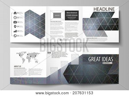 Business templates for tri fold square design brochures. Leaflet cover. Colorful dark background with abstract lines. Bright color chaotic, random, messy curves. Colourful vector layout