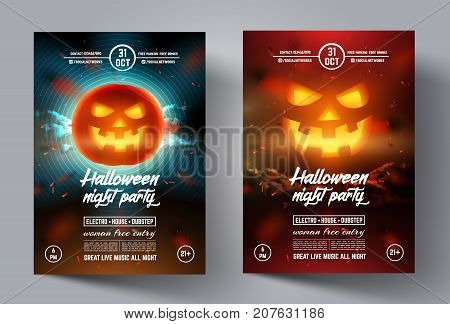 Mystical party flyer. Happy Halloween template banner or leaflet, cover, brochure, poster with smiling glowing pumpkin on modern background. Vector illustration