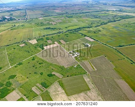 Fields in Rose Valley, Bulgaria from the air