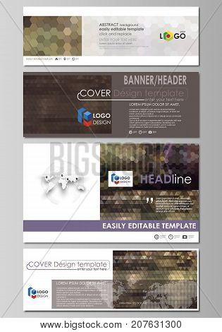 Social media and email headers set, modern banners. Business design templates, vector layouts in popular sizes. Abstract multicolored backgrounds. Geometrical patterns. Triangular or hexagonal style