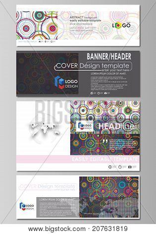 Social media and email headers, modern banners. Business templates. Abstract design template, vector layouts in popular sizes. Bright color background in minimalist style made from colorful circles