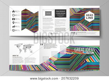 Set of business templates for tri fold square design brochures. Leaflet cover, abstract vector layout. Bright color lines, colorful style with geometric shapes forming beautiful minimalist background