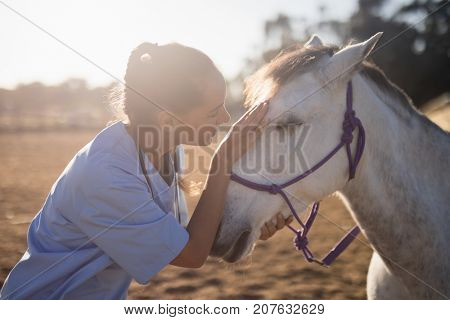 side view of female vet stroking horse at barn