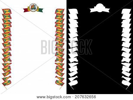 Frame And Border With Flag And Coat Of Arms Grenada. 3D Illustration