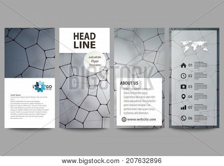 Flyers set, modern banners. Business templates. Cover design template, vector layouts. Chemistry pattern molecular texture, polygonal molecule structure, cell. Medicine, science, microbiology concept