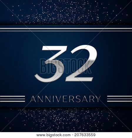 Realistic Thirty two Years Anniversary Celebration Logotype. Silver numbers and silver confetti on blue background. Colorful Vector template elements for your birthday party