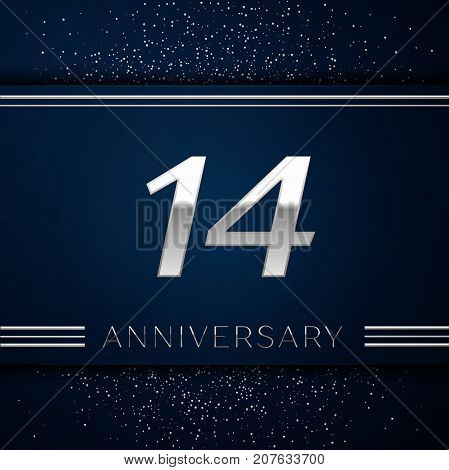 Realistic Fourteen Years Anniversary Celebration Logotype. Silver numbers and silver confetti on blue background. Colorful Vector template elements for your birthday party