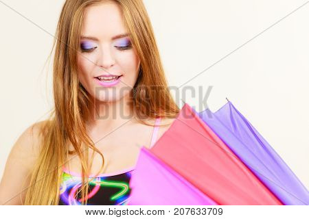 Woman Summer Girl Opening Colorful Umbrella