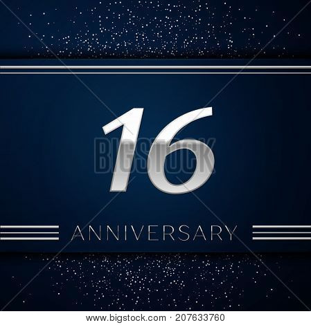 Realistic Sixteen Years Anniversary Celebration Logotype. Silver numbers and silver confetti on blue background. Colorful Vector template elements for your birthday party