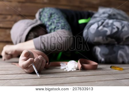 Social advertising on the topic of drug addiction. The young drug addict lost seven, business, everything turned from him and he is not important for society