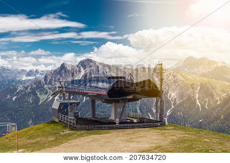 Air tram station in the Italian Alps Kronplatz or Plan de Corones