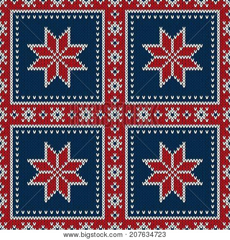 Winter Holiday Seamless Knitted Pattern with a Snowflakes. Knitting Patchwork Style Sweater Design. Wool Knitted Texture Imitation