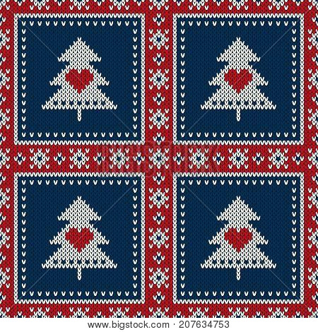 Winter Holiday Seamless Knitted Pattern with a Christmas Trees. Knitting Sweater Design. Wool Knitted Texture
