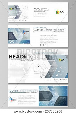Social media and email headers set, modern banners. Abstract design template, vector layouts in popular sizes. Geometric blue background, molecule structure, science concept. Connected lines and dots