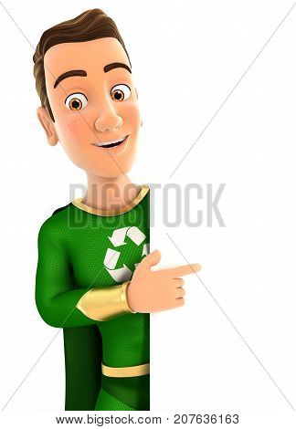 3d green hero pointing to right blank wall illustration with isolated white background